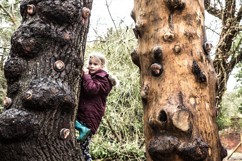 Shugborough play area climbing wall